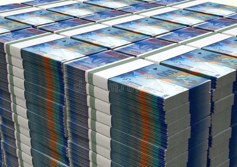 Швейцарский франк замечает стог пачек стоковые фотографии rf