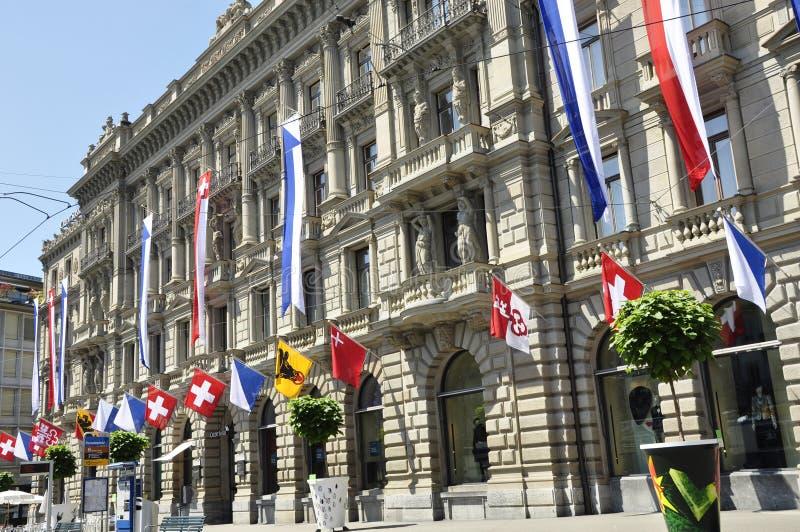 Швейцарское управление Suisse кредита в банке на Paradeplatz в богачах ¼ ZÃ стоковое изображение