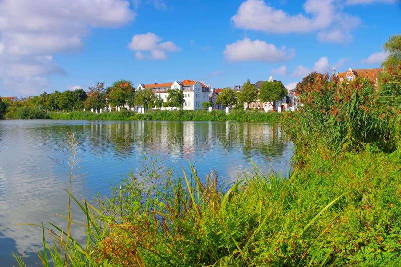 Шверин в Германии, озере в городке стоковая фотография
