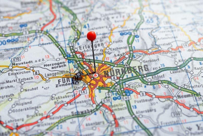 Швеция Стокгольм, 7-ое апреля 2018: Европейские города на сериях карты Крупный план Nurnberg стоковое изображение