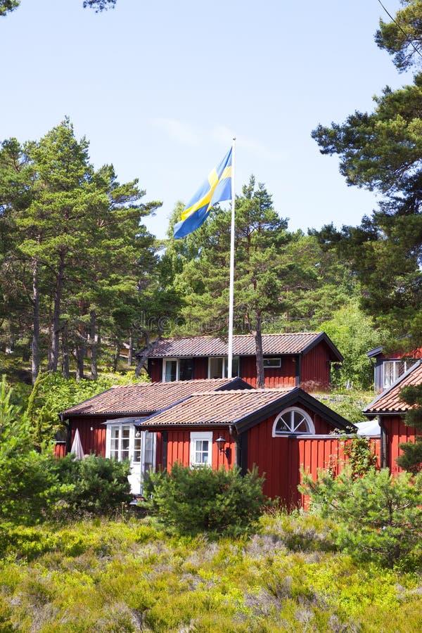 Шведские бревенчатые хижины стоковое изображение