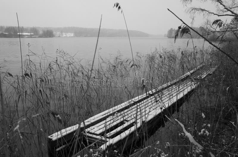 Шведский ландшафт зимы в черно-белом стоковое фото