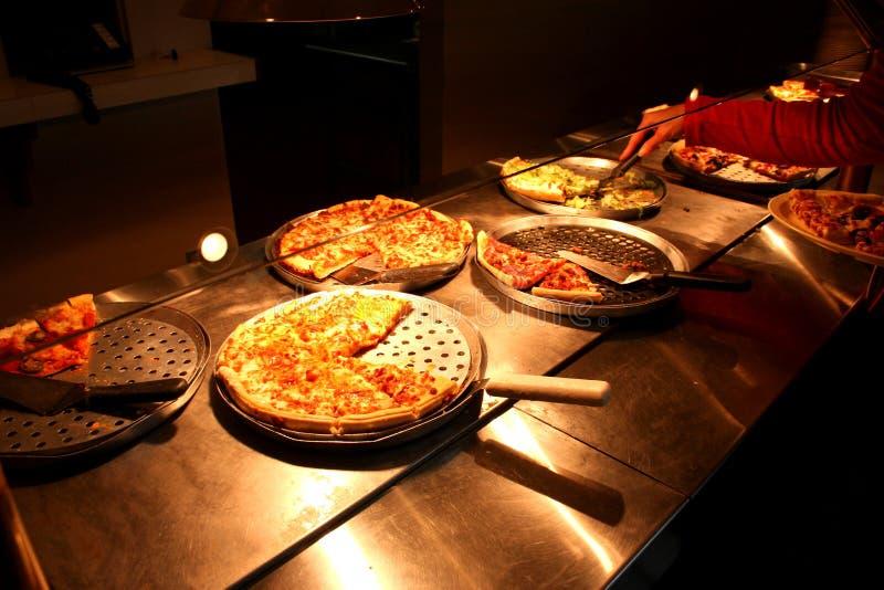 Шведский стол 3 пиццы стоковые изображения rf