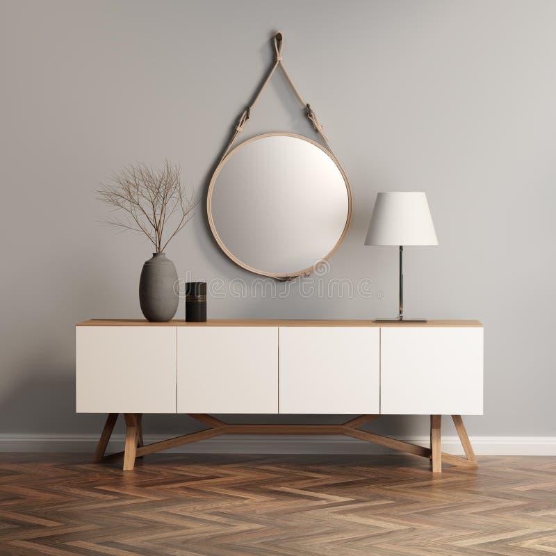 Шведский стол, таблица консоли на серой стене бесплатная иллюстрация