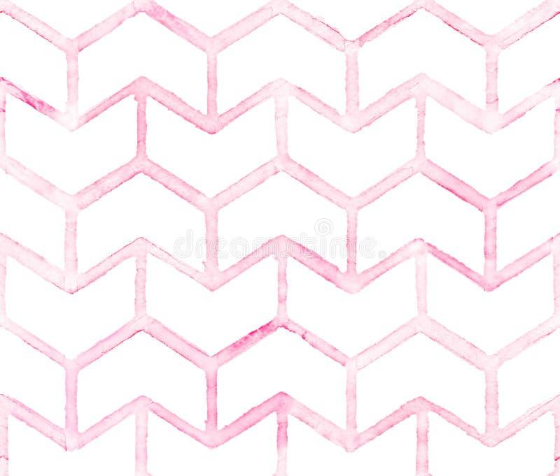 Шеврон с розовым планом на белой предпосылке Картина акварели безшовная для ткани иллюстрация вектора