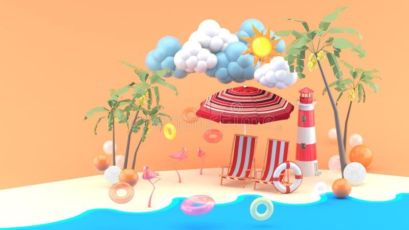 Шезлонги под зонтиком пляжа на пляже песка под солнечностью иллюстрация штока
