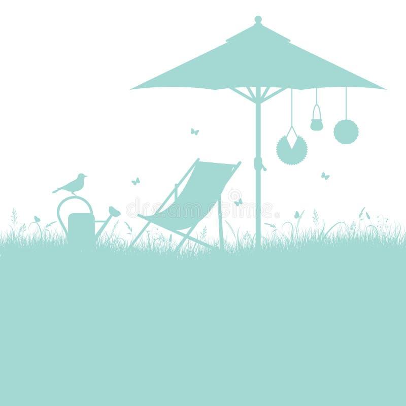 Шезлонг сада силуэта и бирюза зонтика бесплатная иллюстрация