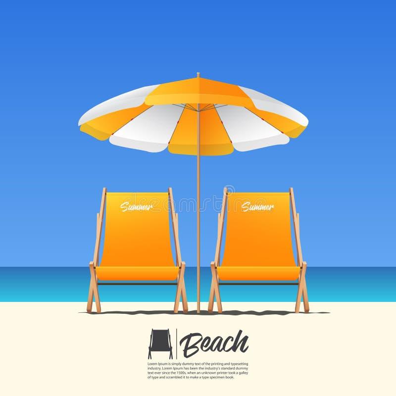 Шезлонг лета 2 апельсинов в вид спереди и зонтике пляжа апельсина Голубая предпосылка неба градиента бесплатная иллюстрация