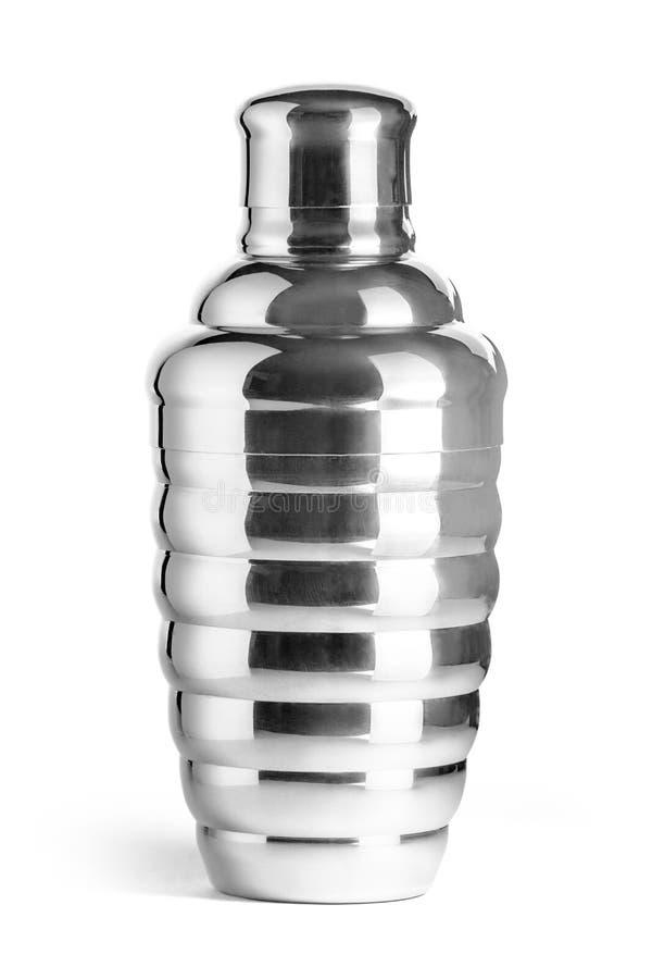 Шейкер коктеиля металла на белой предпосылке стоковое фото
