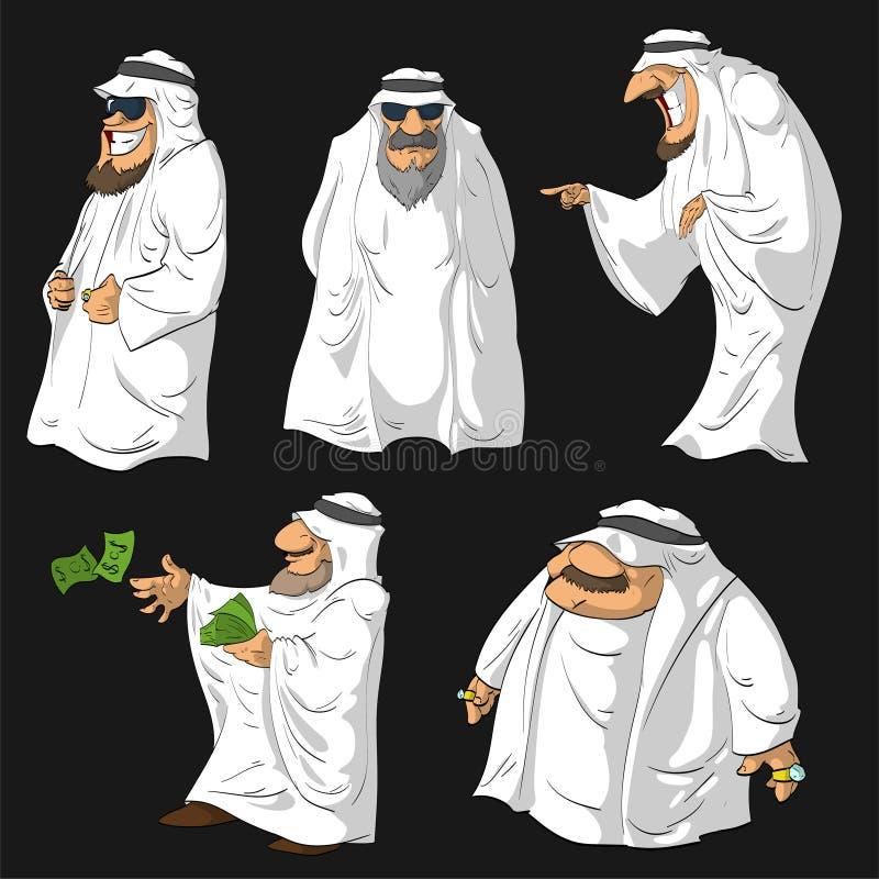 Шейхи араба шаржа иллюстрация вектора