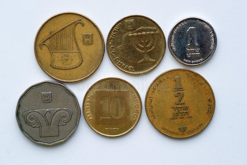 Шекели - монетки Израиля стоковые фотографии rf