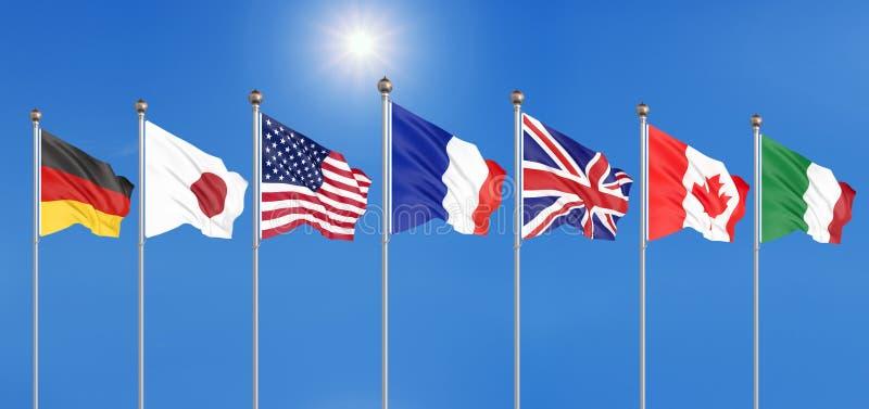 Шелк развевая флаги G7 стран группы в составе 7 Канада, Германия, Италия, Франция, Япония, государства США, Великобритания r иллюстрация вектора
