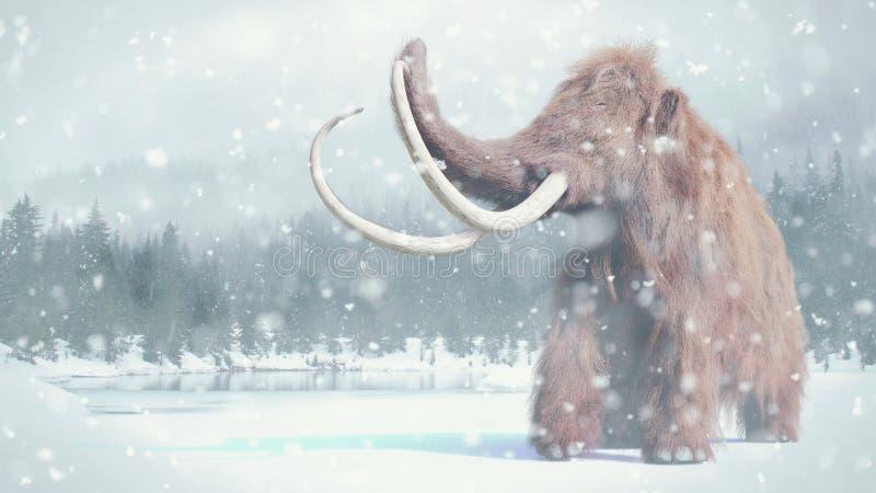 Шерстистое мамонтовое, доисторическое млекопитающее в снежном ландшафте ледникового временени бесплатная иллюстрация