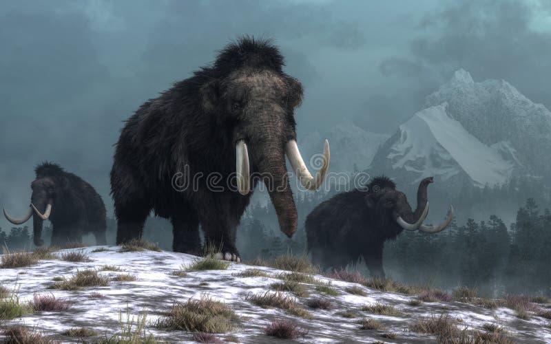Шерстистые mammoths бесплатная иллюстрация