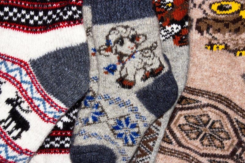 Шерстяные связанные носки в запасе стоковая фотография rf