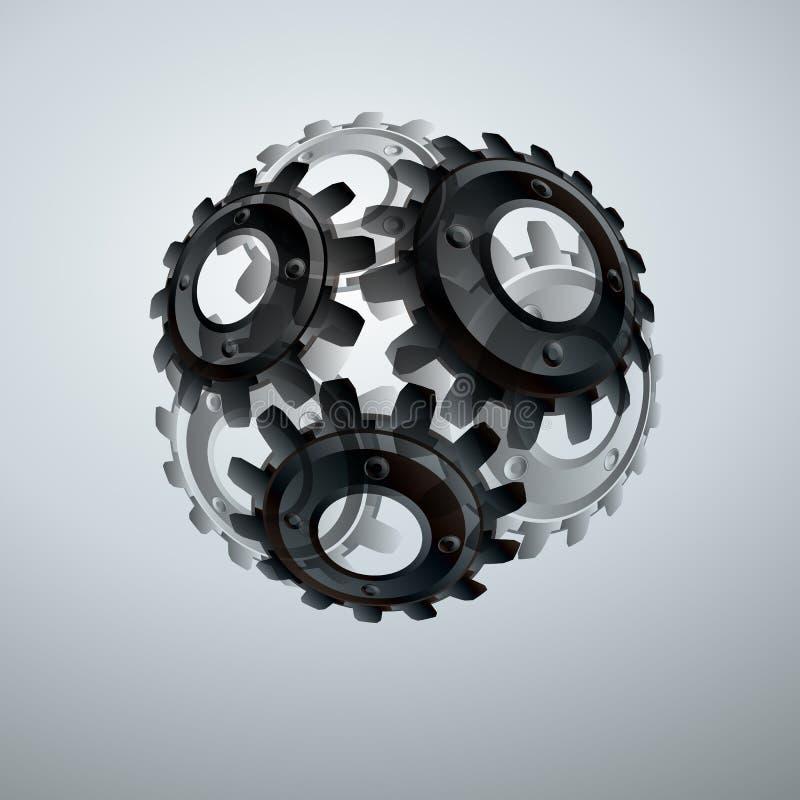 Шестерни в захвате Предпосылка конспекта технического чертежа промышленная с cogwheels бесплатная иллюстрация