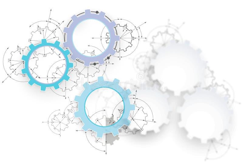 Шестерни в захвате Предпосылка конспекта технического чертежа промышленная с cogwheels иллюстрация штока