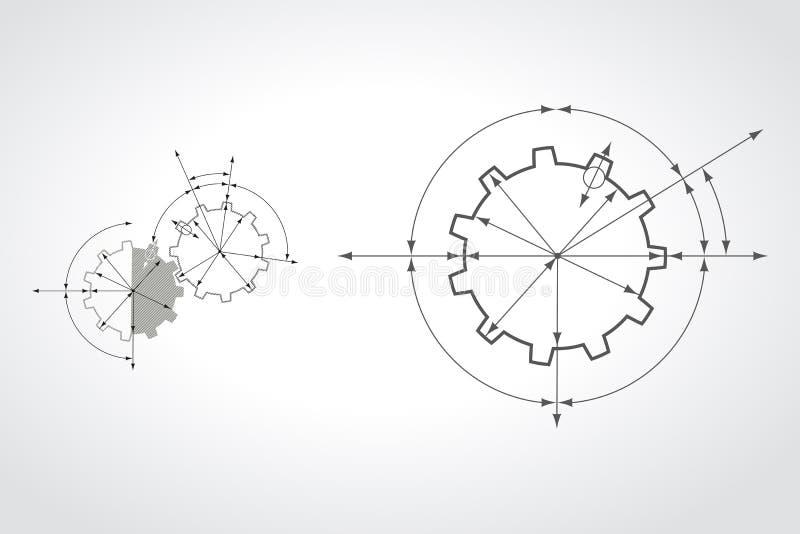 Шестерни в захвате Предпосылка конспекта технического чертежа промышленная с cogwheels иллюстрация вектора
