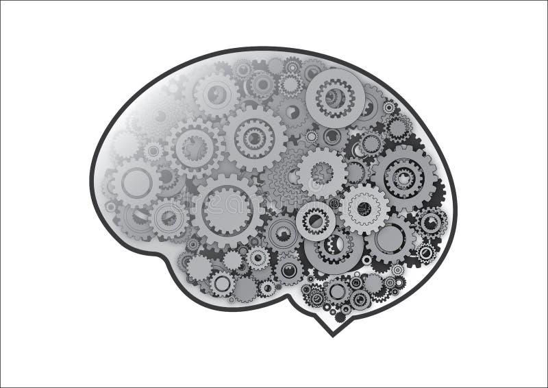 Шестерни в мозге иллюстрация вектора