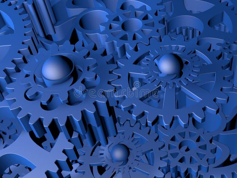 Шестерни в сини иллюстрация вектора