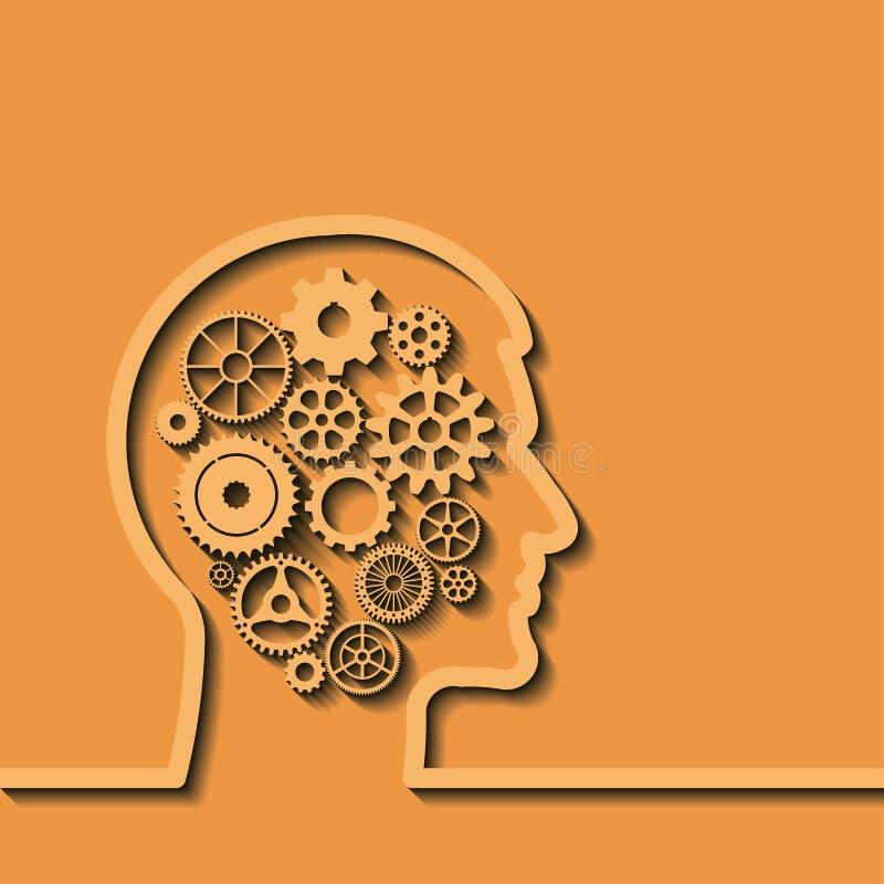 Шестерни в человеческой голове, думая процессе вектор иллюстрация вектора