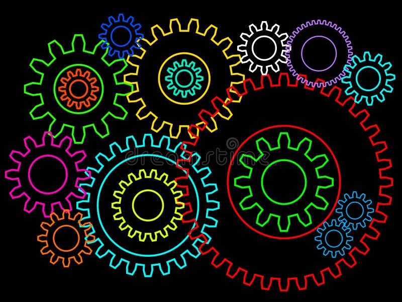Шестерни или изолированная предпосылка cogwheels 2d Teamworking или концепция соединения бесплатная иллюстрация