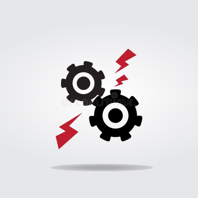 Шестерни или стиль дизайна иллюстрации вектора значка cog плоский иллюстрация вектора