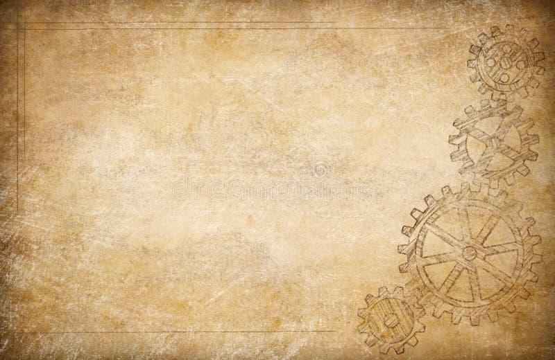 Шестерни и предпосылка cogs винтажная бумажная иллюстрация штока