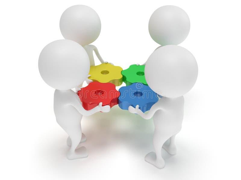шестерни и люди цвета 3d на белизне иллюстрация штока