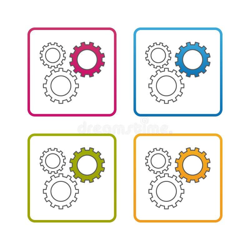 Шестерни - конспектируйте введенный в моду значок - Editable ход - красочная иллюстрация вектора - изолированный на белой предпос иллюстрация штока