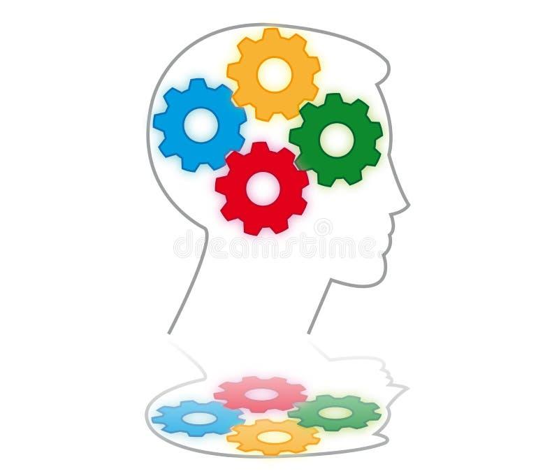 шестерни мозга иллюстрация вектора