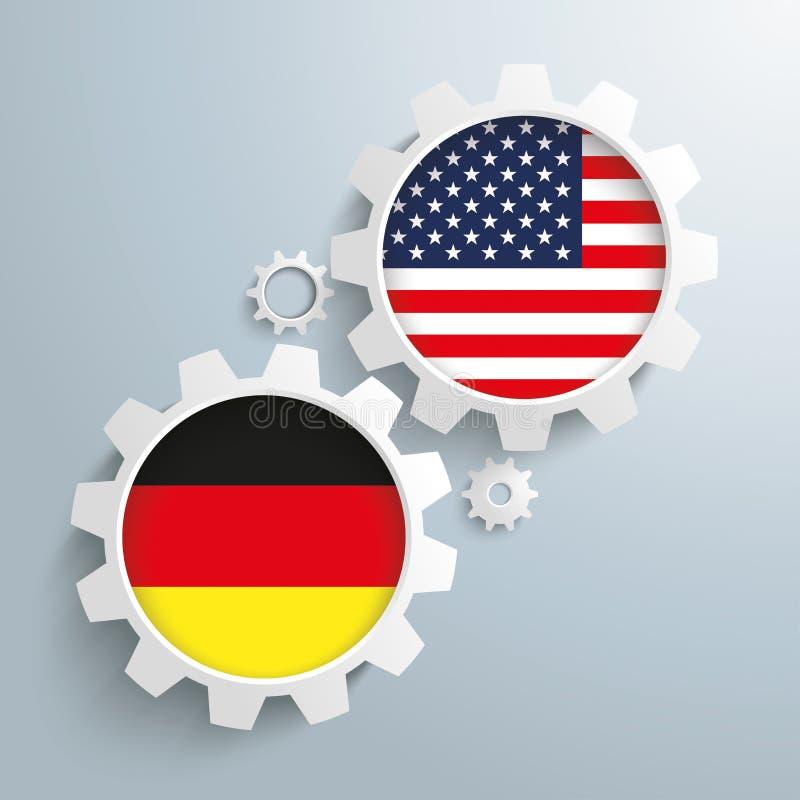 Шестерни партнерства США Германии иллюстрация штока
