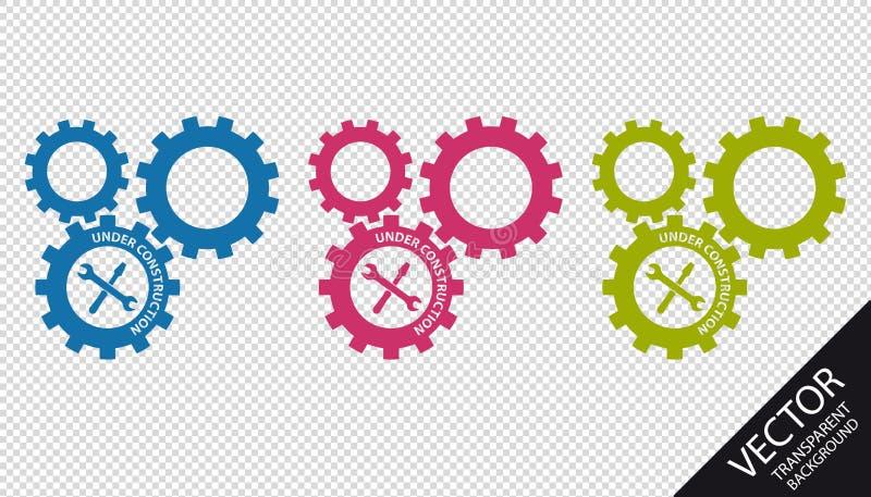 Шестерни под конструкцией при инструменты - красочные значки вектора - изолированные на прозрачной предпосылке иллюстрация штока