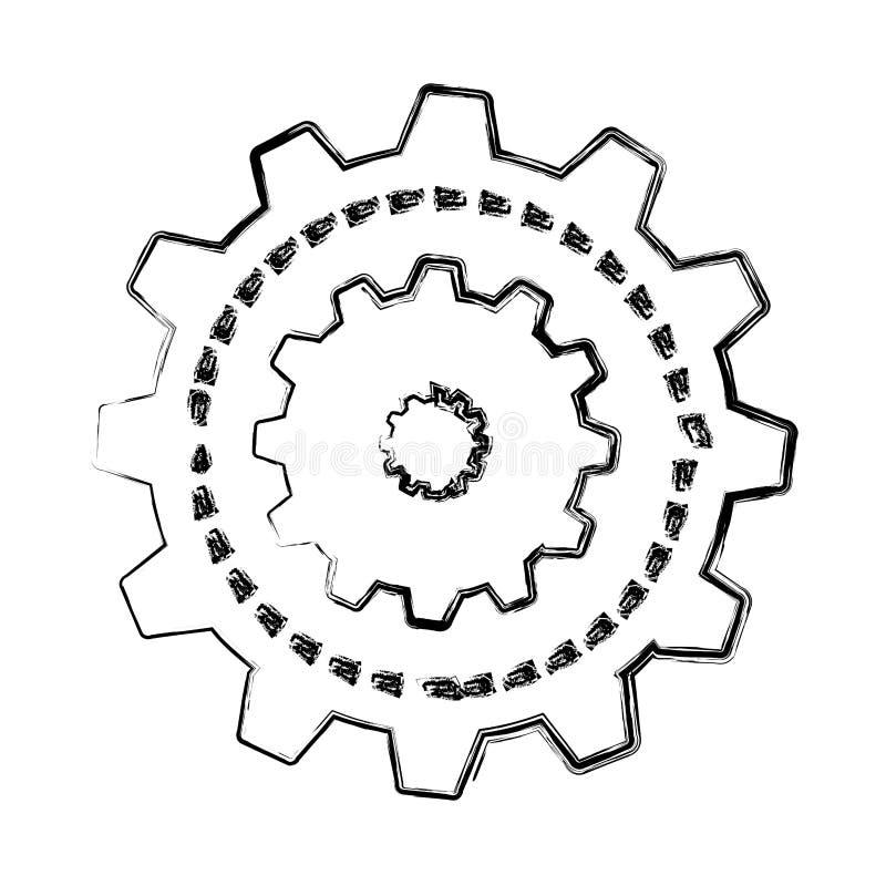Шестерни подвергают изолированный значок механической обработке бесплатная иллюстрация