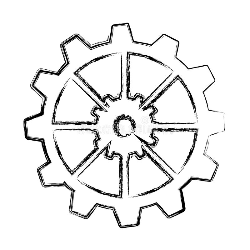 Шестерни подвергают изолированный значок механической обработке иллюстрация штока