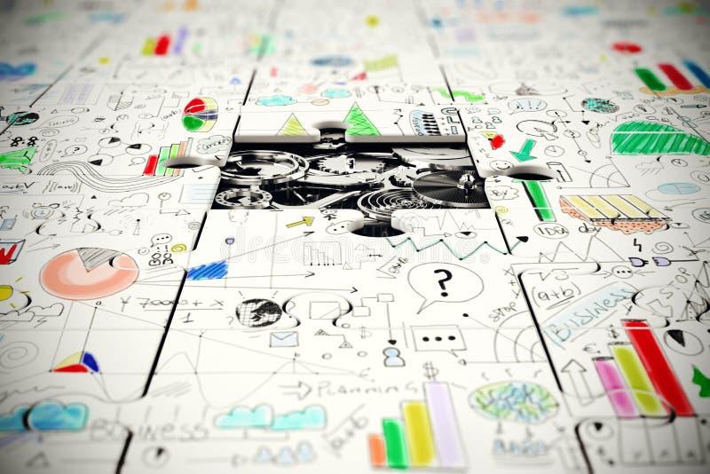 Шестерни под отсутствующей частью головоломки стоковое изображение