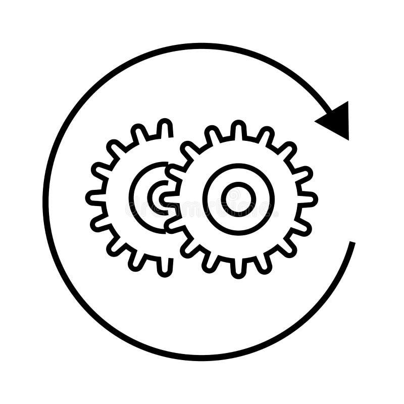 Шестерни по часовой стрелке, варианты, значок установок иллюстрация штока