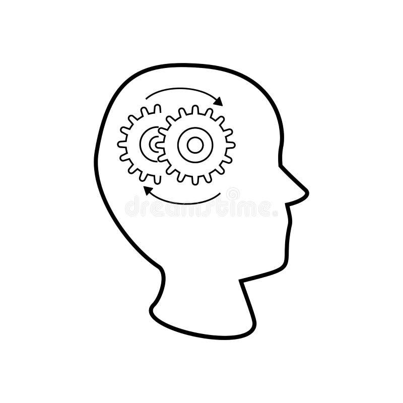 Шестерни по часовой стрелке внутри головы иллюстрация штока