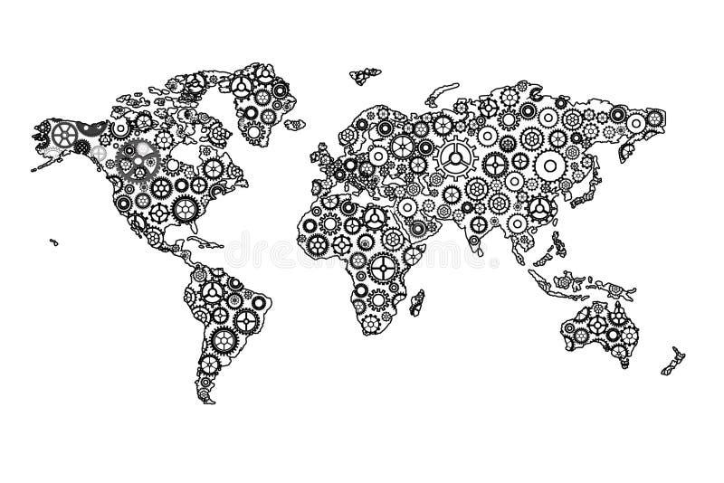 Шестерни планеты иллюстрация вектора
