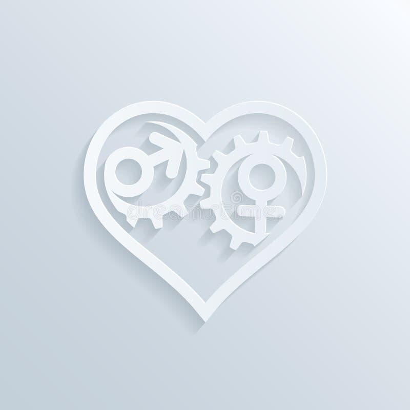Download Шестерни сердца иллюстрация вектора. иллюстрации насчитывающей индустрия - 41659307