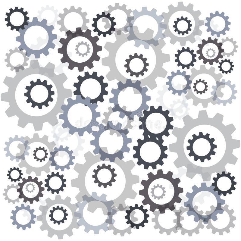 Шестерни цвета изолированные на белой предпосылке также вектор иллюстрации притяжки corel иллюстрация штока