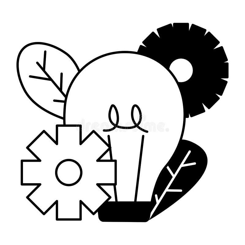 Шестерни электрической лампочки иллюстрация штока