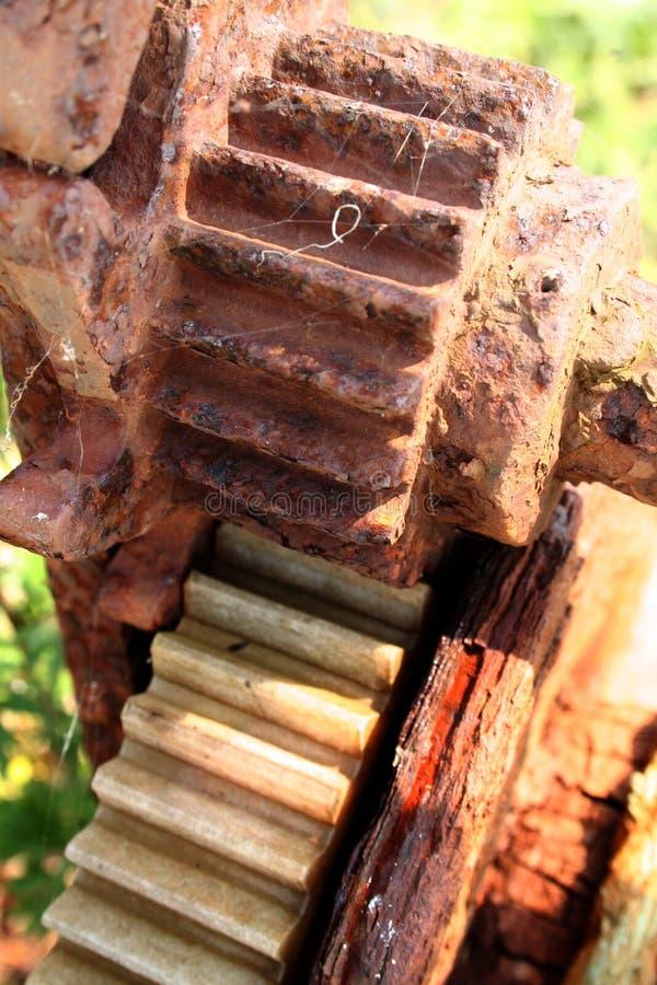 шестерни cogs подвергают старую механической обработке стоковая фотография rf