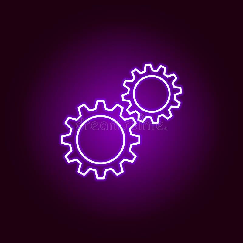 шестерни cogwheels конспектируют значок в неоновом стиле Элементы иллюстрации ремонта автомобиля в неоновом значке стиля Знаки и  иллюстрация штока