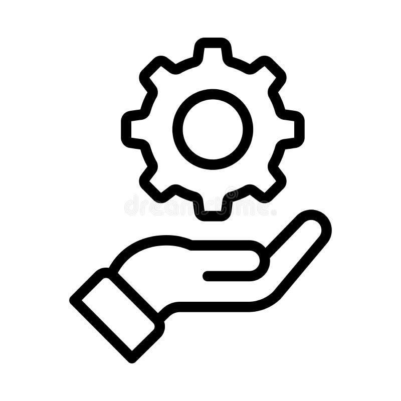 Шестерня в значке руки иллюстрация вектора