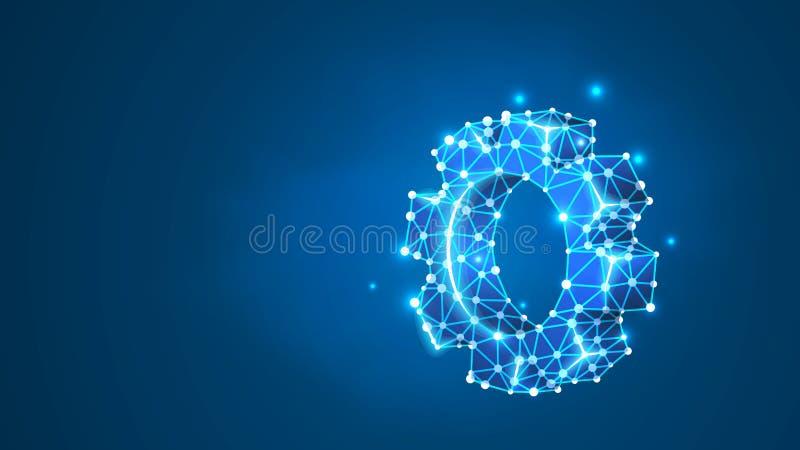 Шестерня Развитие индустрии, концепция решения дела Механический символ инженерства машины технологии r иллюстрация штока