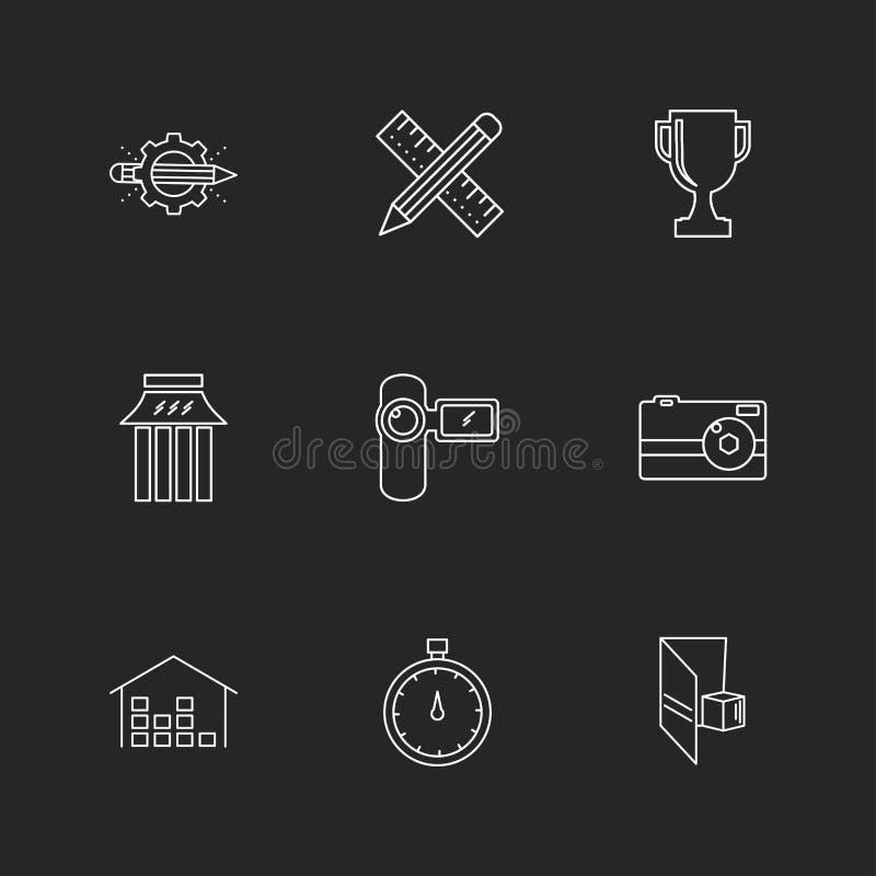 шестерня, секундомер, масштаб, карандаш, дом, кибер, безопасность, внутри иллюстрация штока