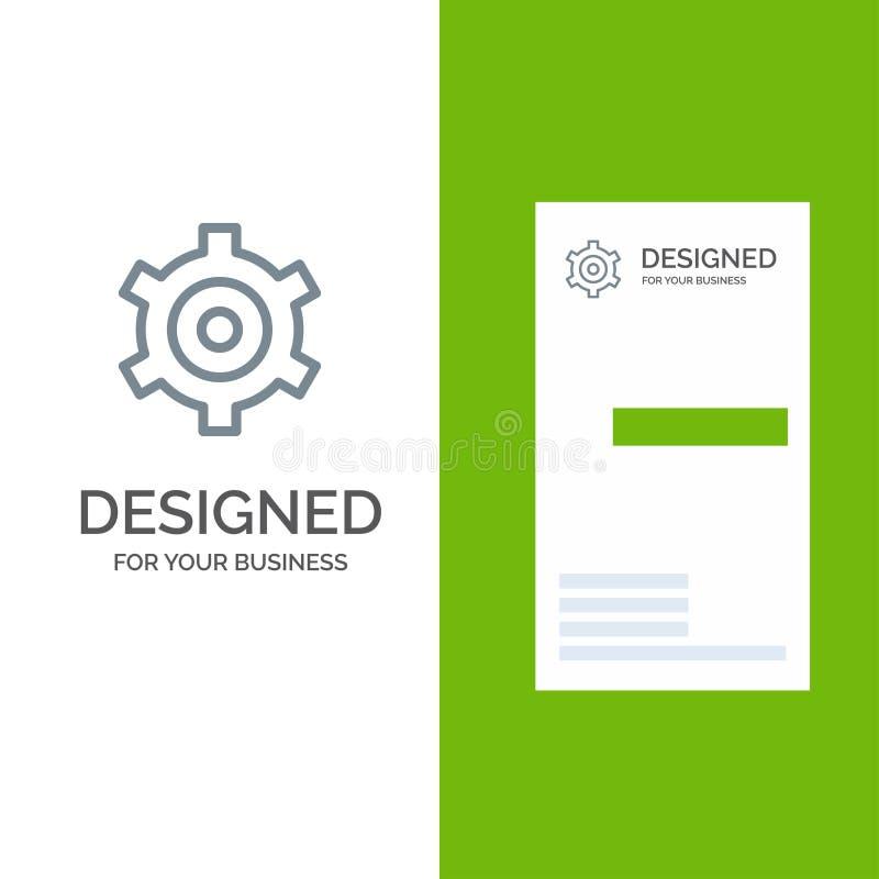 Шестерня, установка, дизайн логотипа Cogs серые и шаблон визитной карточки иллюстрация штока