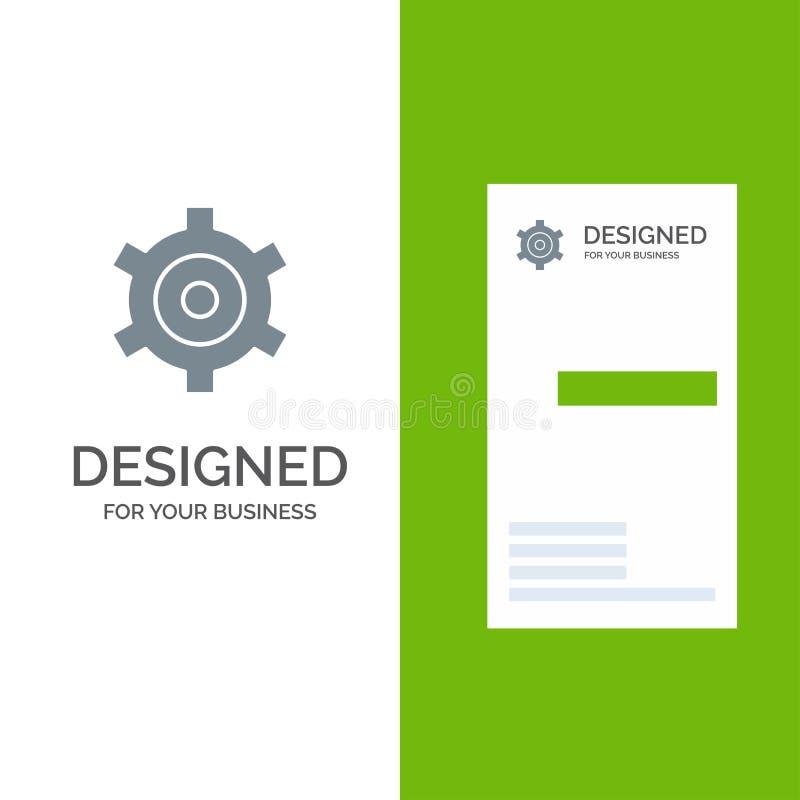 Шестерня, установка, дизайн логотипа Cogs серые и шаблон визитной карточки иллюстрация вектора