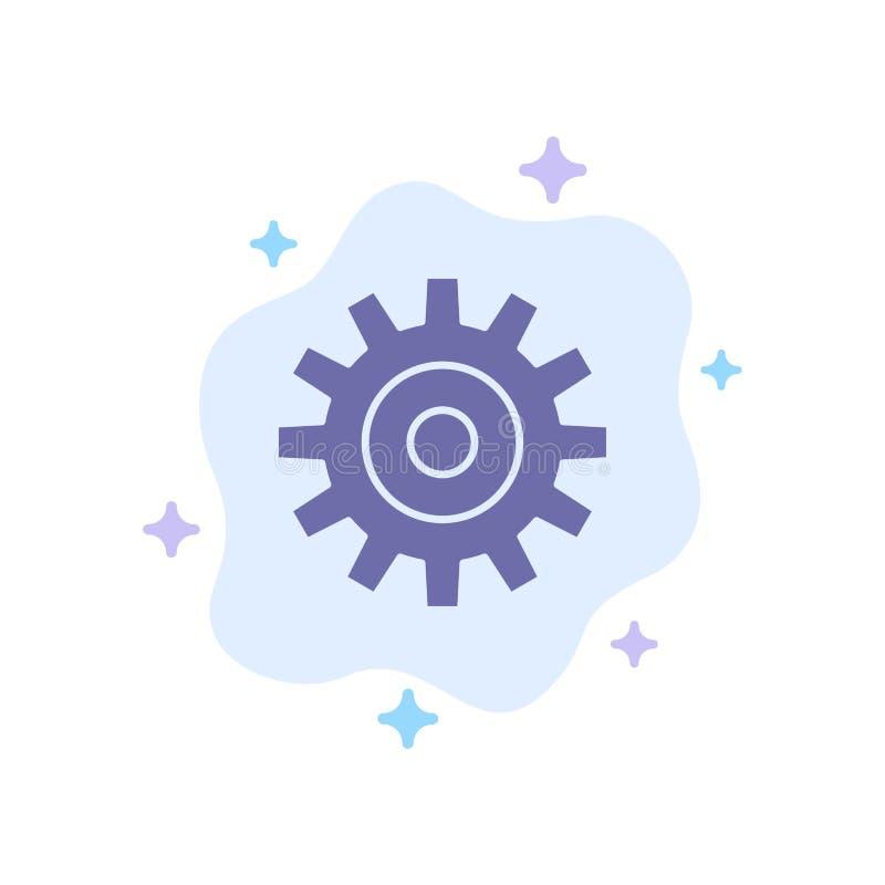 Шестерня, установка, колесо, значок Cogs голубой на абстрактной предпосылке облака иллюстрация штока